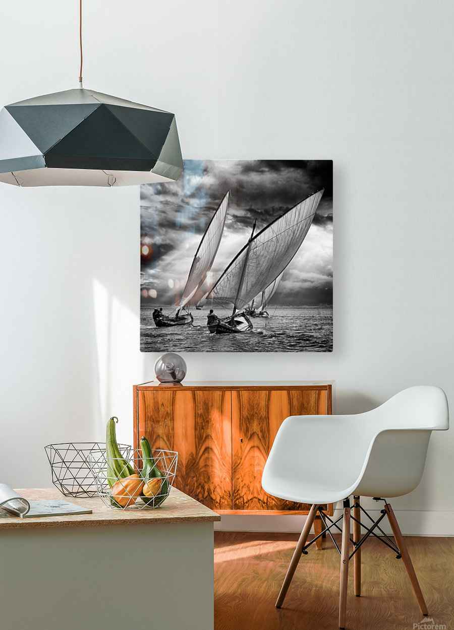 Sailboats and Light  HD Metal print with Floating Frame on Back
