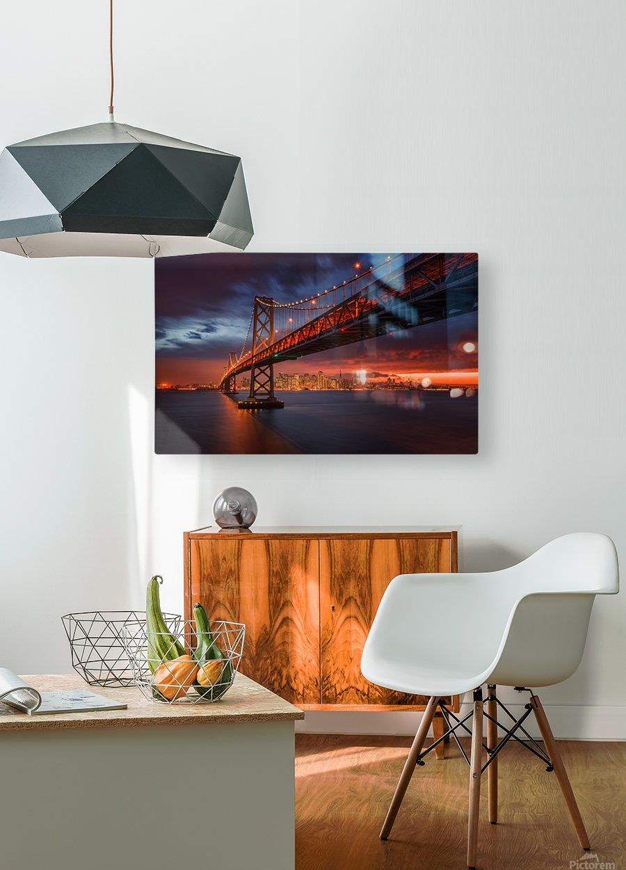Fire over San Francisco  HD Metal print with Floating Frame on Back