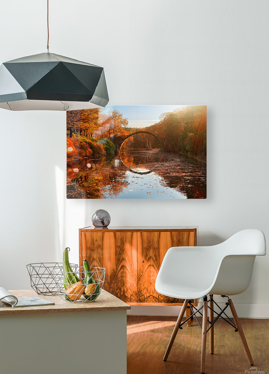 Autumn lake  HD Metal print with Floating Frame on Back