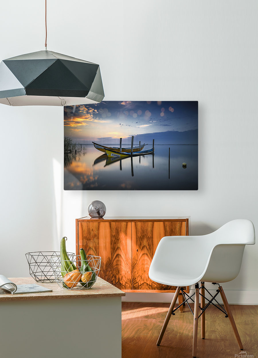 The boats  HD Metal print with Floating Frame on Back