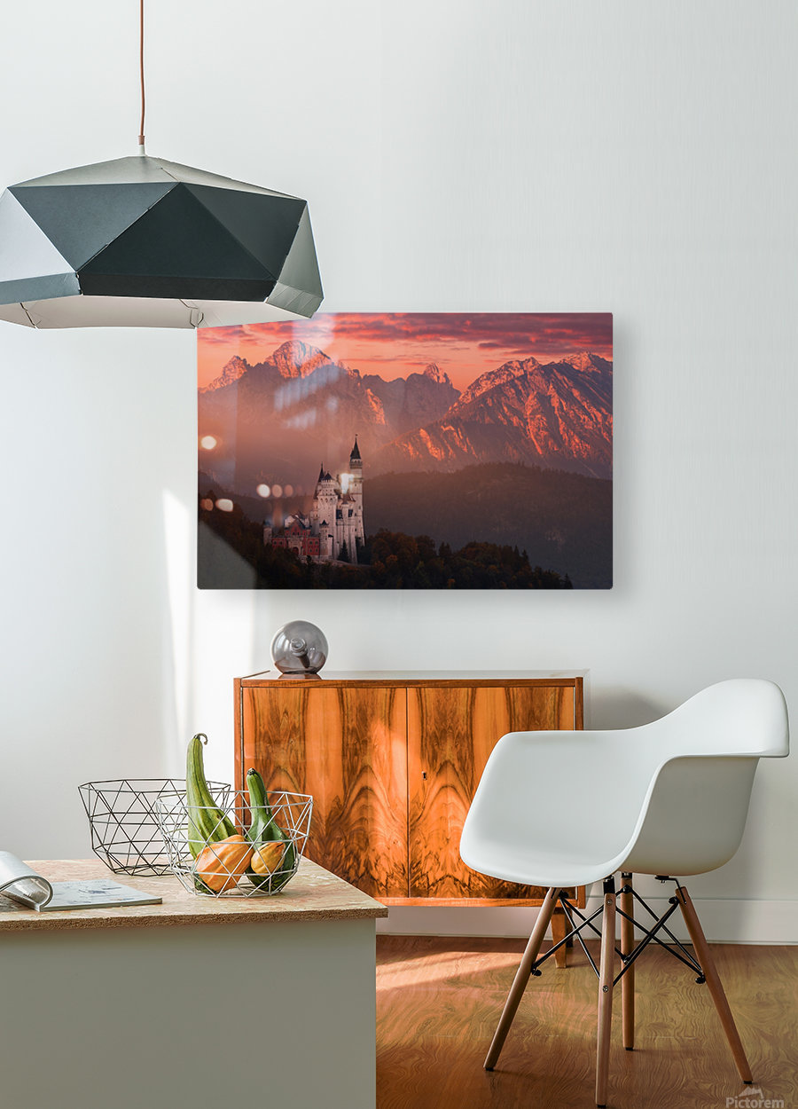Red morning above the castle  HD Metal print with Floating Frame on Back
