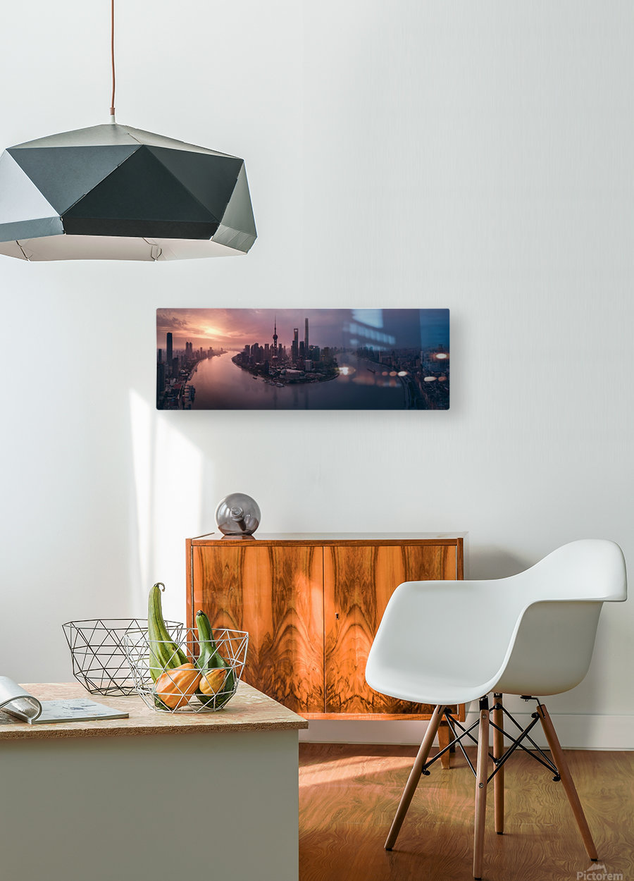 Flying Shanghai  HD Metal print with Floating Frame on Back