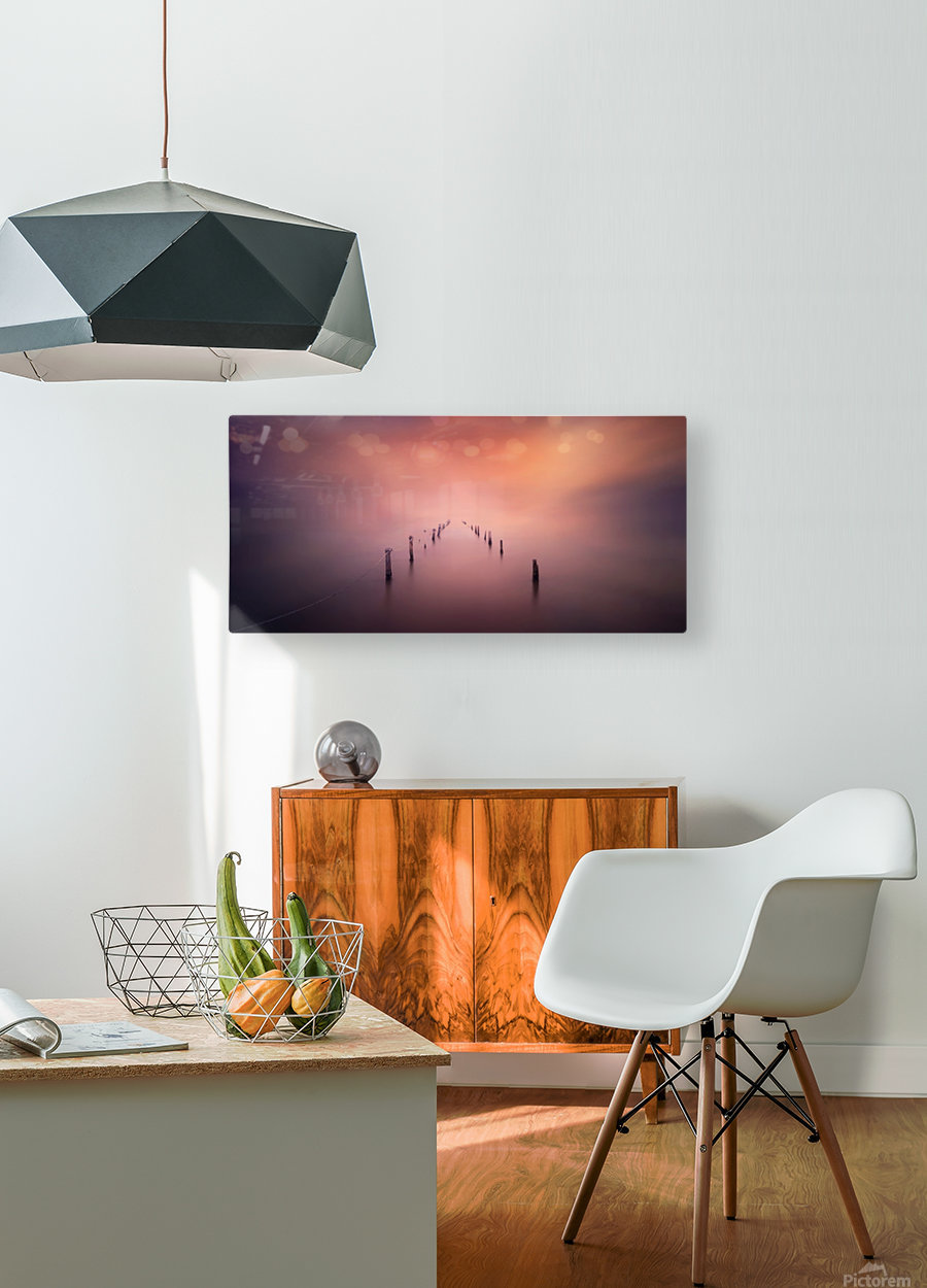 The light  HD Metal print with Floating Frame on Back