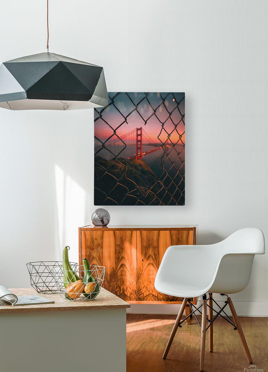 Golden Gate Caged  Impression métal HD avec cadre flottant sur le dos