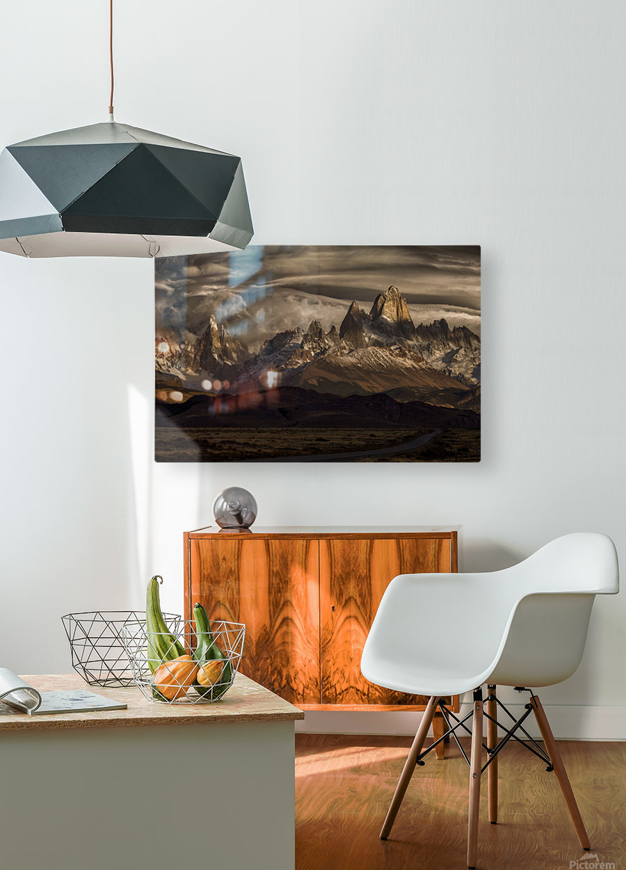 Striped sky over the Patagonia spikes  HD Metal print with Floating Frame on Back
