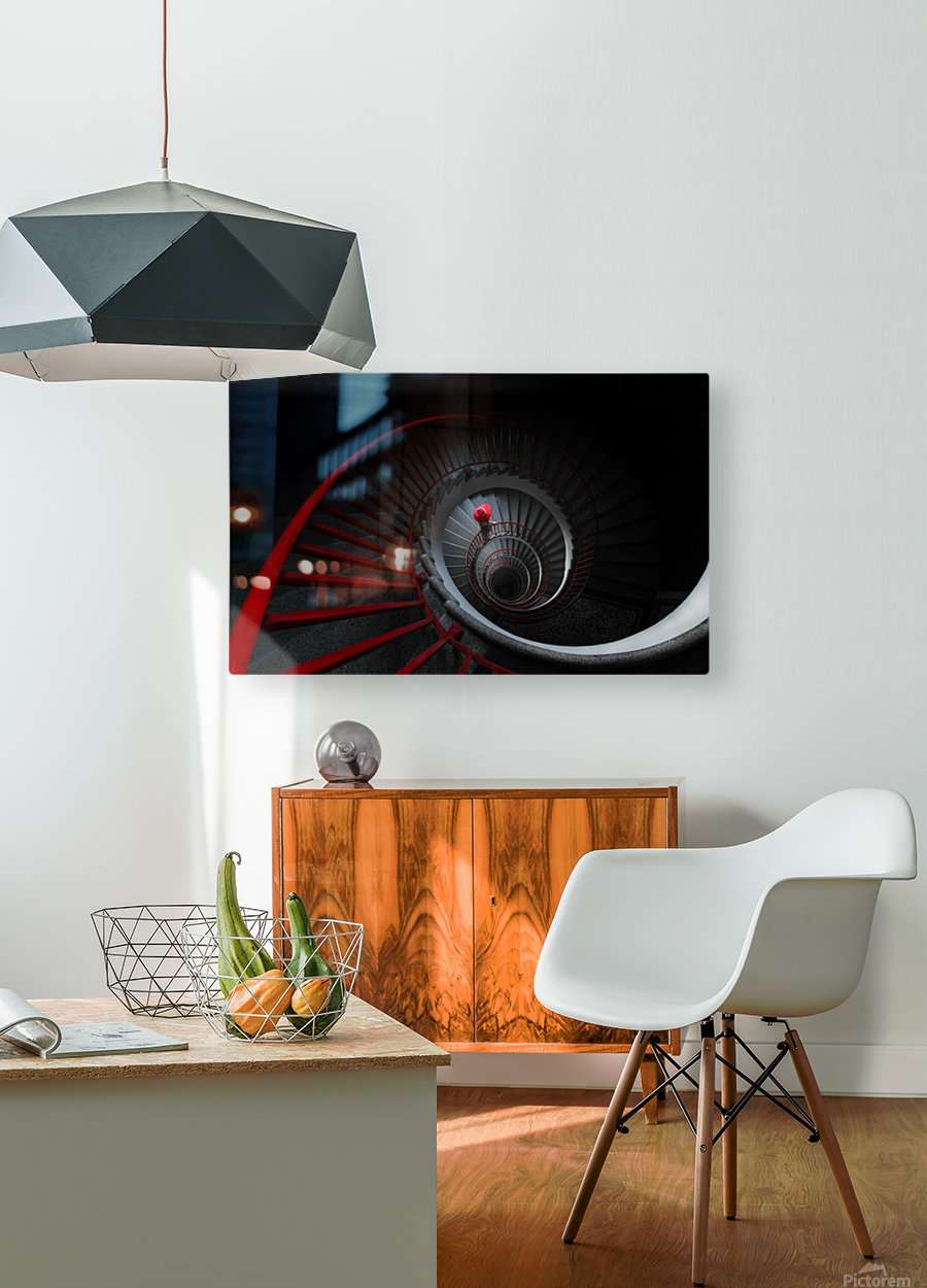 The red hat  HD Metal print with Floating Frame on Back