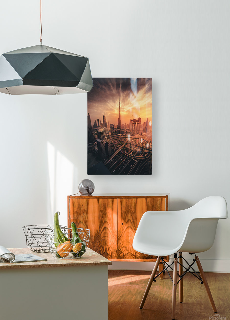 Dubai's Fiery sunset  HD Metal print with Floating Frame on Back