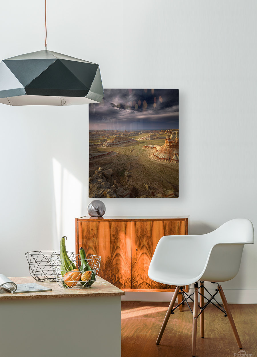 Storm in the distance  HD Metal print with Floating Frame on Back