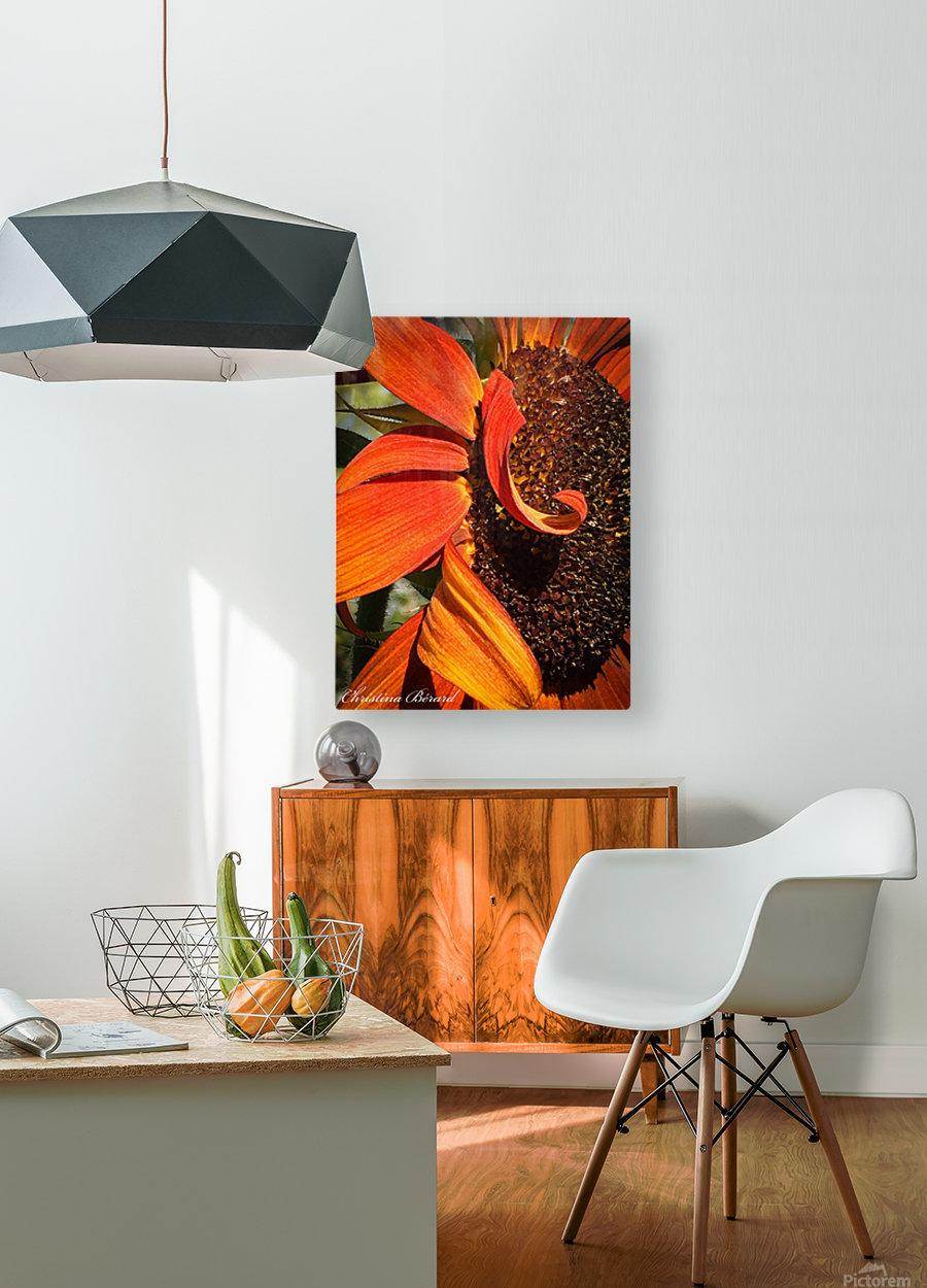 Sun Flowing flowers   Impression métal HD avec cadre flottant sur le dos