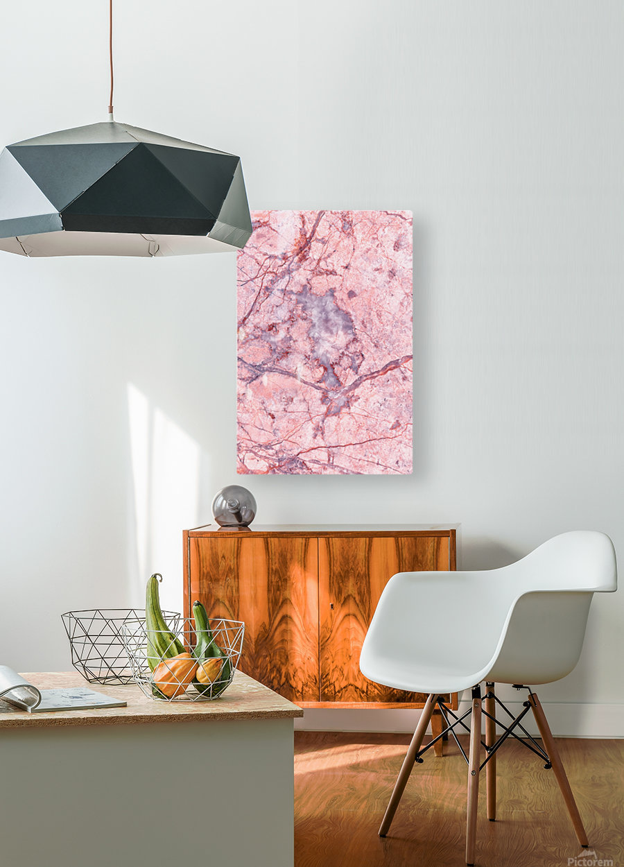 Pink Marble  HD Metal print with Floating Frame on Back