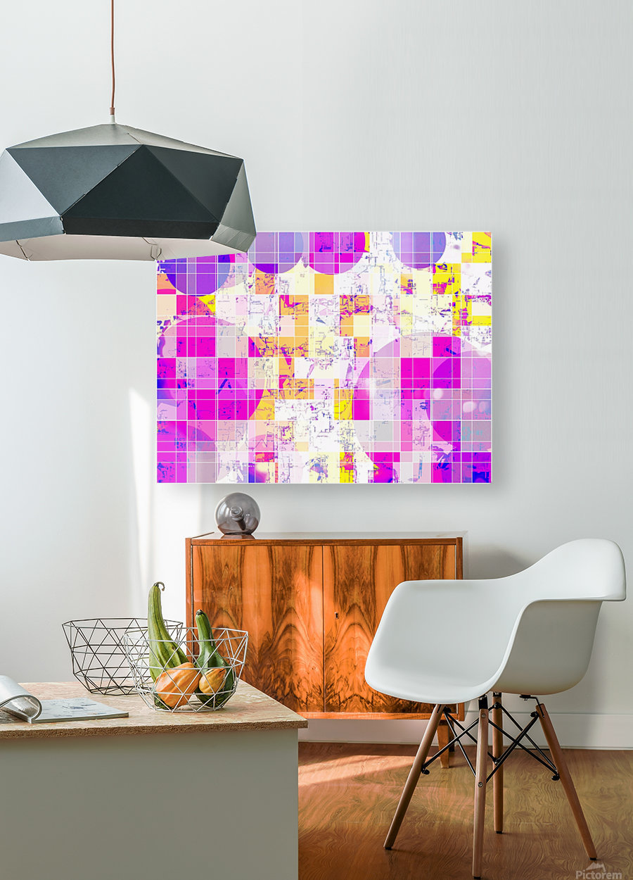 geometric square and circle pattern abstract in pink purple yellow  HD Metal print with Floating Frame on Back