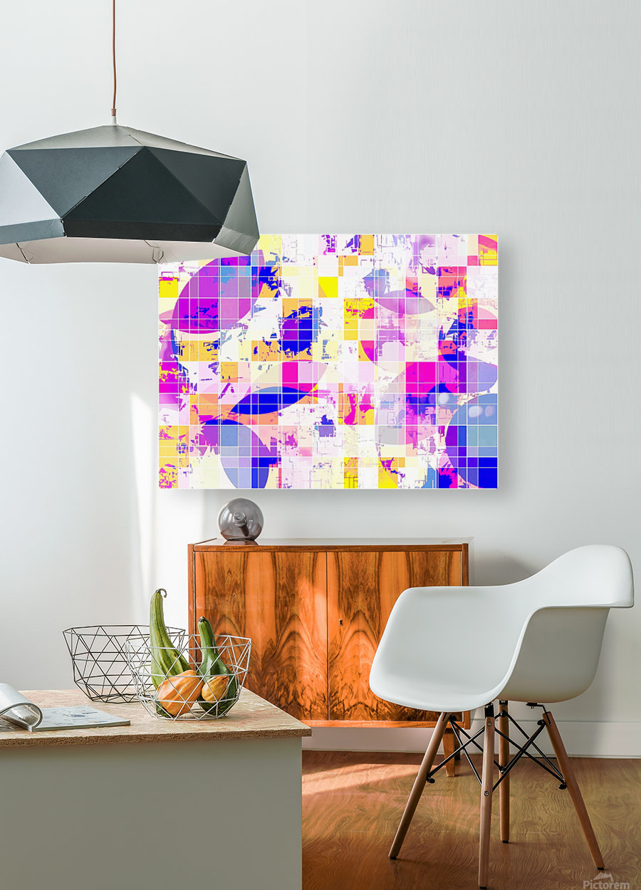 geometric square and circle pattern abstract in pink blue yellow  HD Metal print with Floating Frame on Back