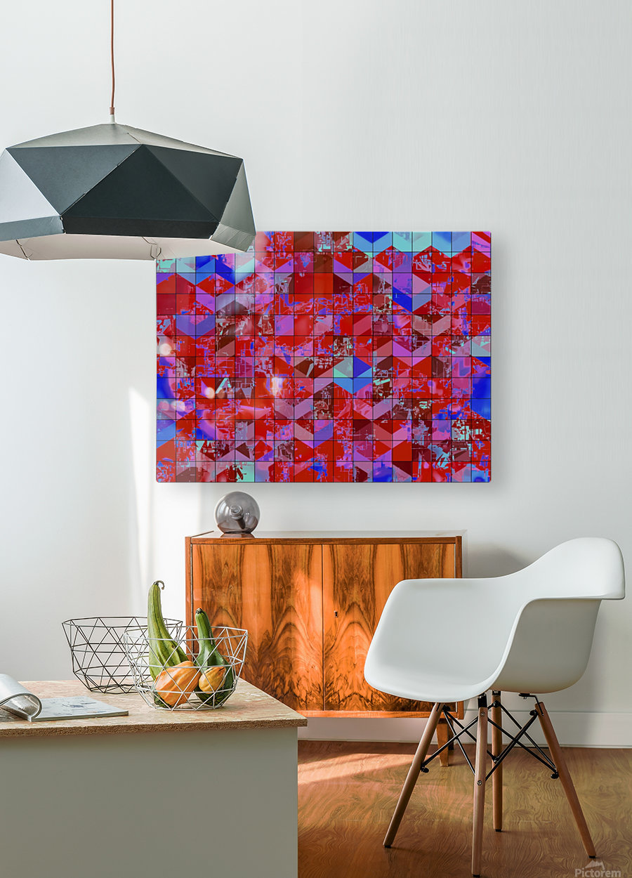 geometric square and triangle pattern abstract in red and blue  HD Metal print with Floating Frame on Back