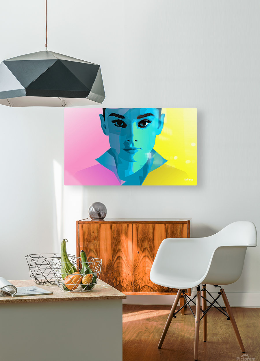 Pop Art Audrey Portrait  HD Metal print with Floating Frame on Back