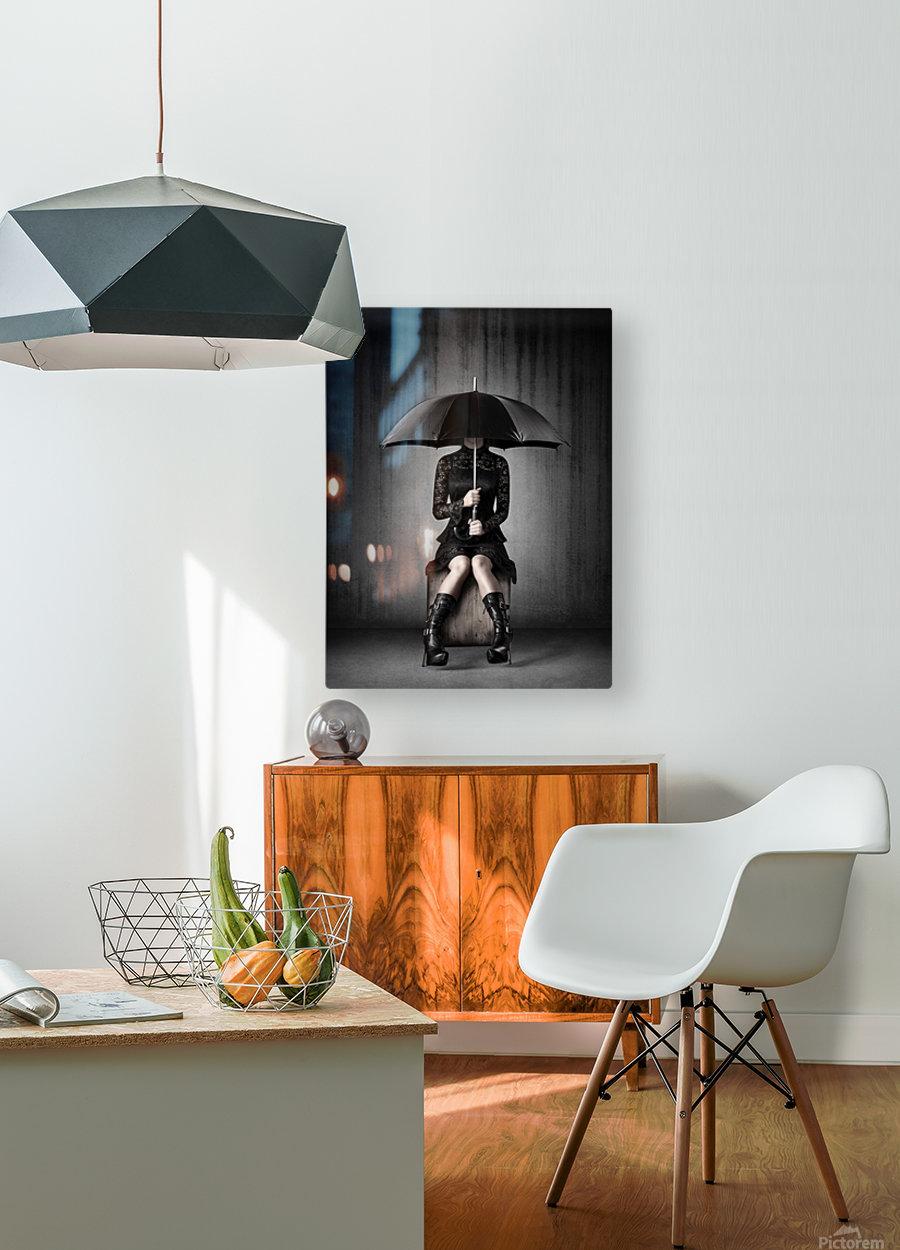 Black Rain  HD Metal print with Floating Frame on Back