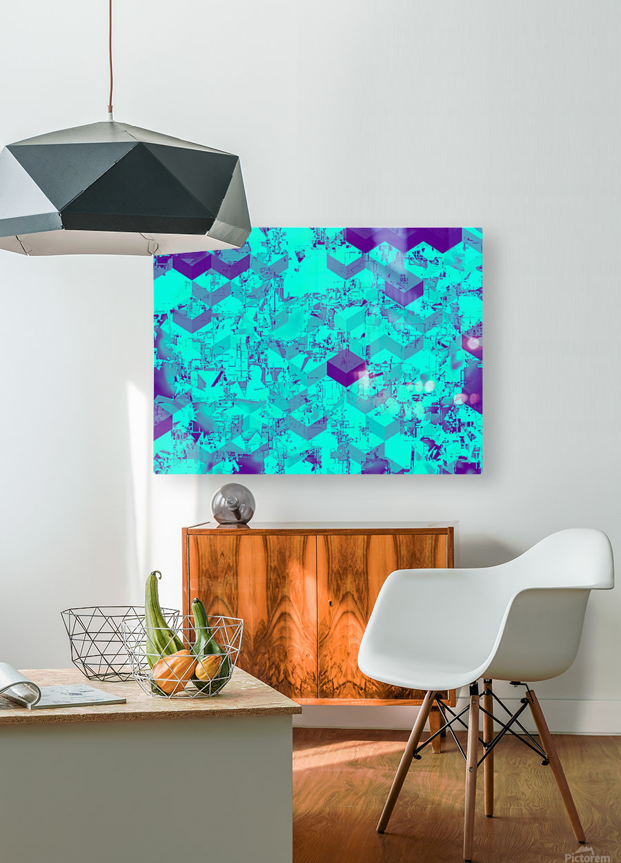 geometric square pattern abstract in blue  HD Metal print with Floating Frame on Back
