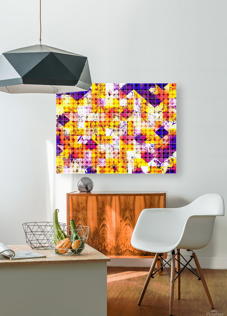 geometric square and circle pattern abstract in orange blue  HD Metal print with Floating Frame on Back