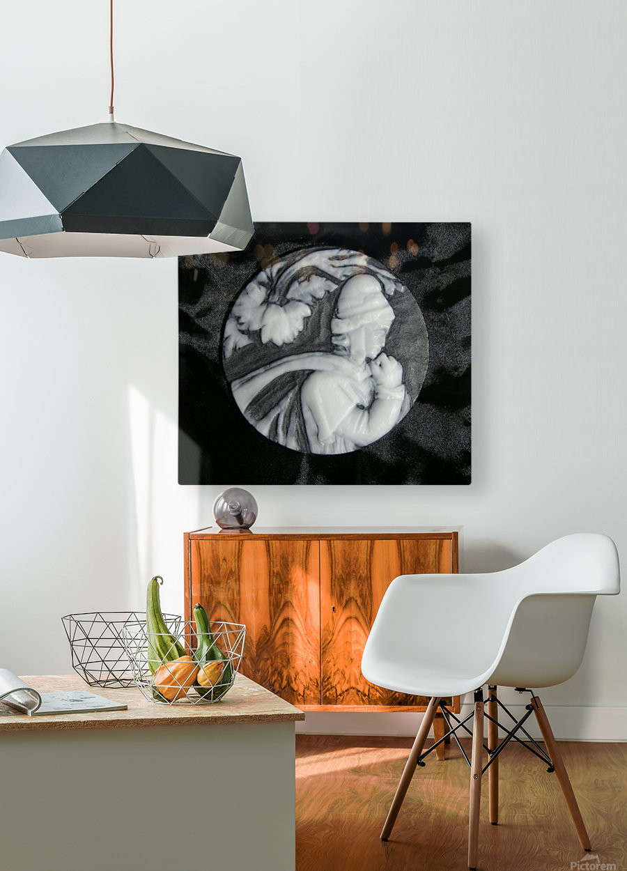 Cameo glass disc   HD Metal print with Floating Frame on Back