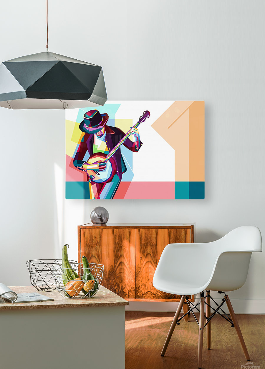 GUITAR MAN  HD Metal print with Floating Frame on Back