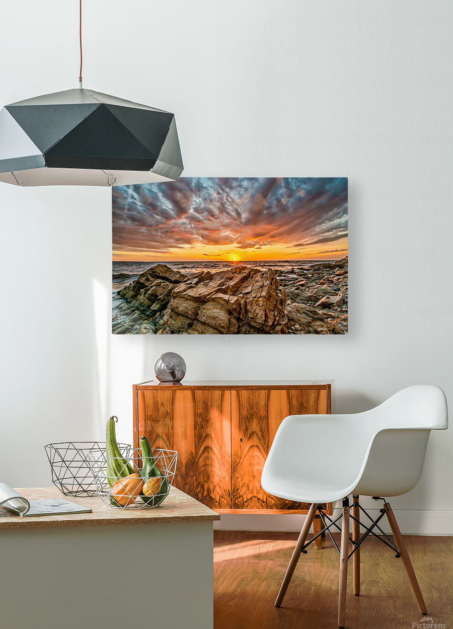 Rocks and Sunset  HD Metal print with Floating Frame on Back