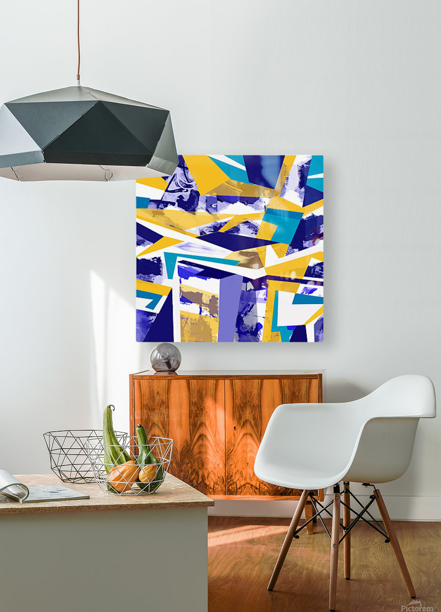 yellowblue  HD Metal print with Floating Frame on Back