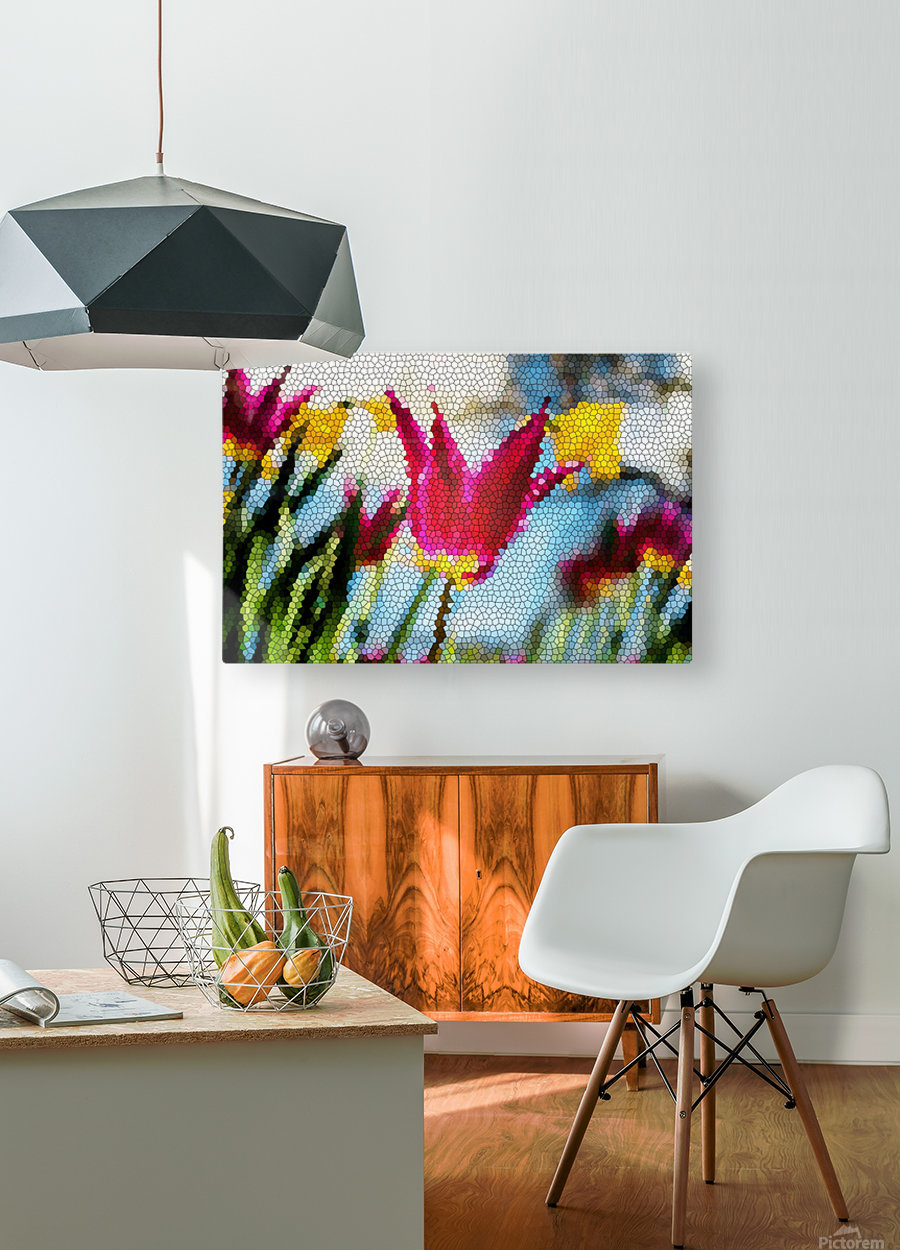 Tulip Mosaic  HD Metal print with Floating Frame on Back