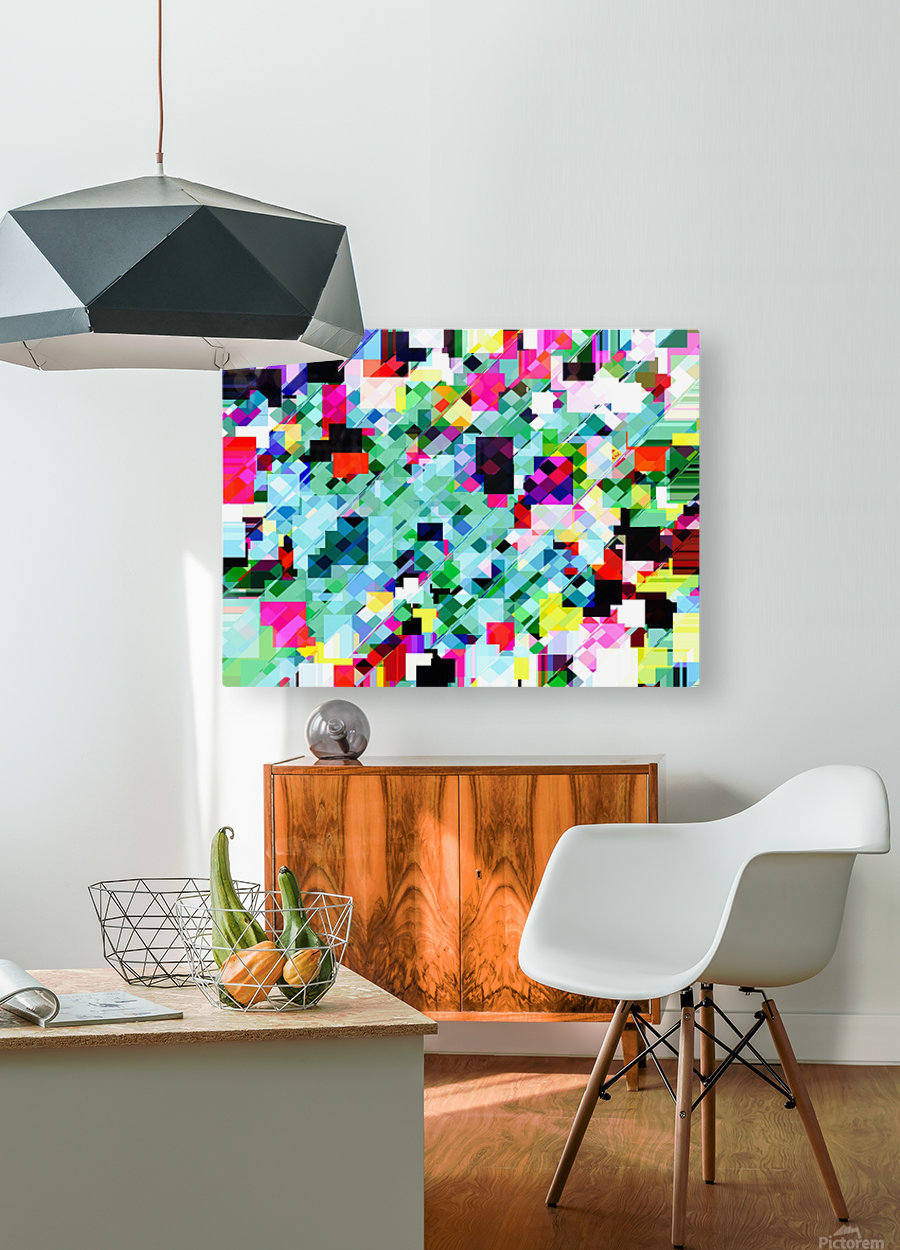 geometric square pixel pattern abstract in green pink blue yellow  HD Metal print with Floating Frame on Back