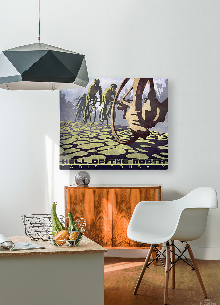 Paris Roubaix retro cycling poster  HD Metal print with Floating Frame on Back