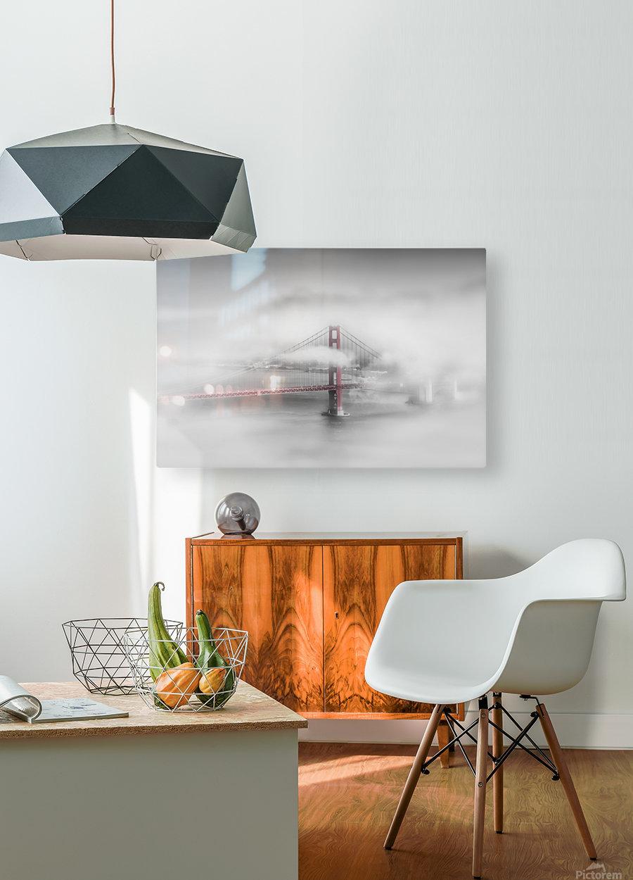 Foggy Golden Gate Bridge   colorkey  HD Metal print with Floating Frame on Back