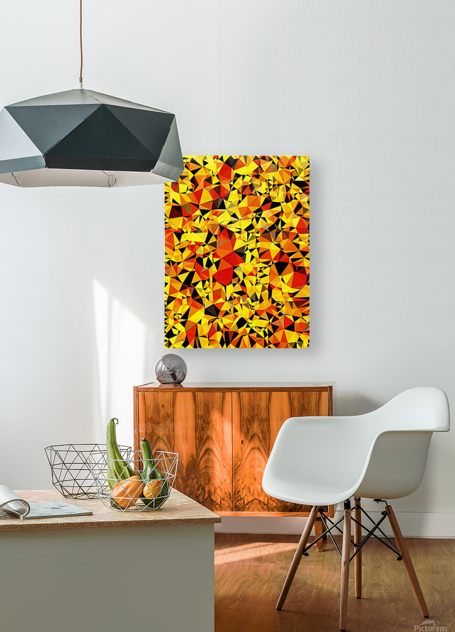 geometric triangle pattern abstract in orange yellow red  HD Metal print with Floating Frame on Back