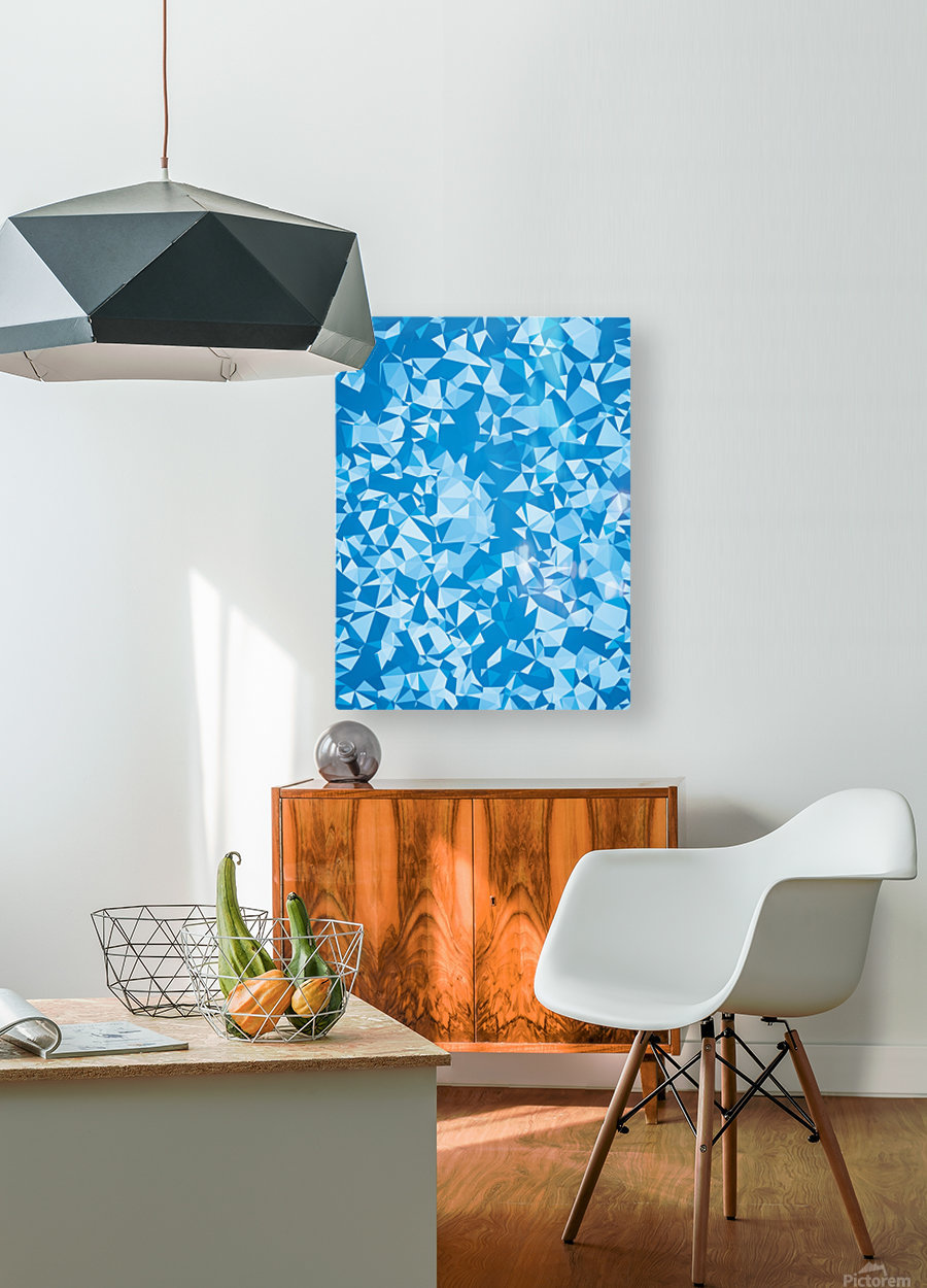 geometric triangle pattern abstract in blue  HD Metal print with Floating Frame on Back