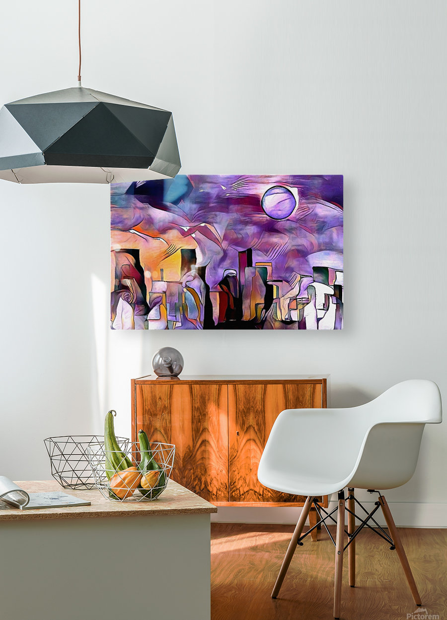 Colorful City Silhouettes  HD Metal print with Floating Frame on Back