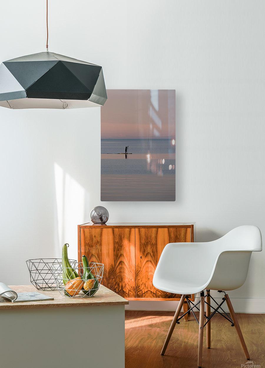 Evening paddleboarder  Impression métal HD avec cadre flottant sur le dos