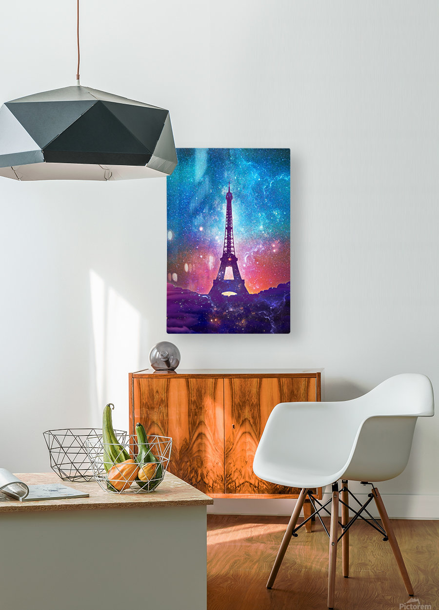 Eiffel Tower - Milky Way Collage  HD Metal print with Floating Frame on Back
