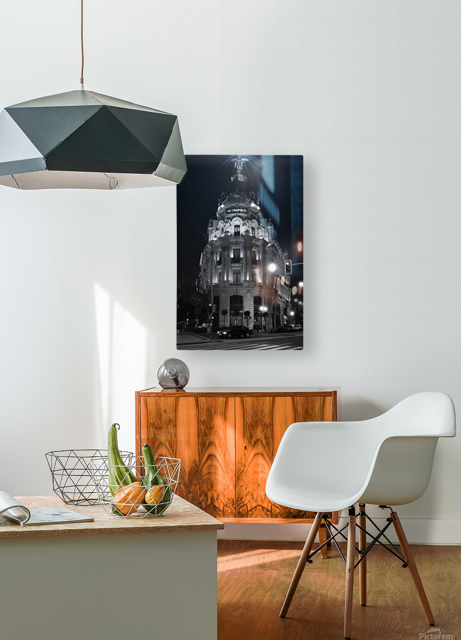 Metropolis Boulding   Grand Via   Madrid  HD Metal print with Floating Frame on Back