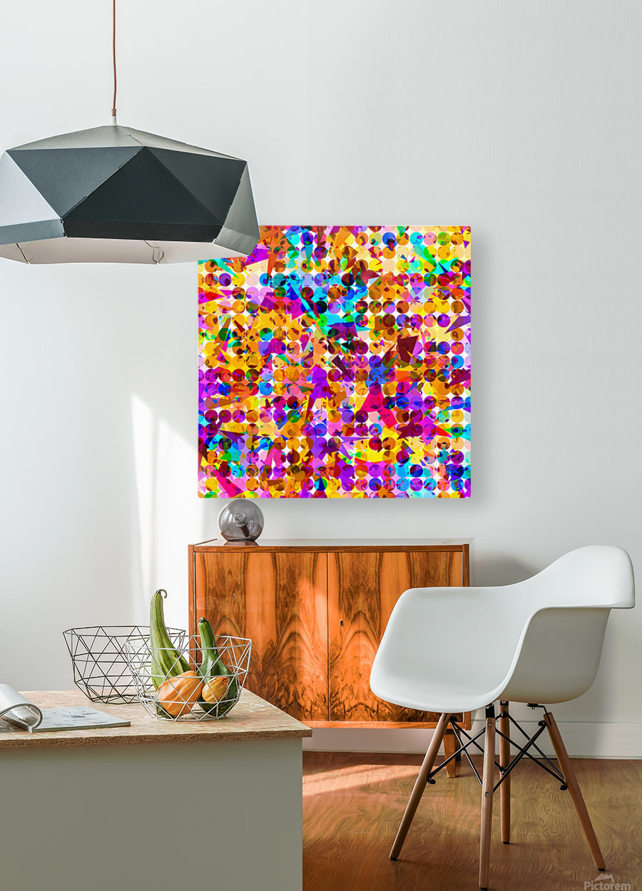 geometric circle and triangle pattern abstract in orange blue pink purple  HD Metal print with Floating Frame on Back