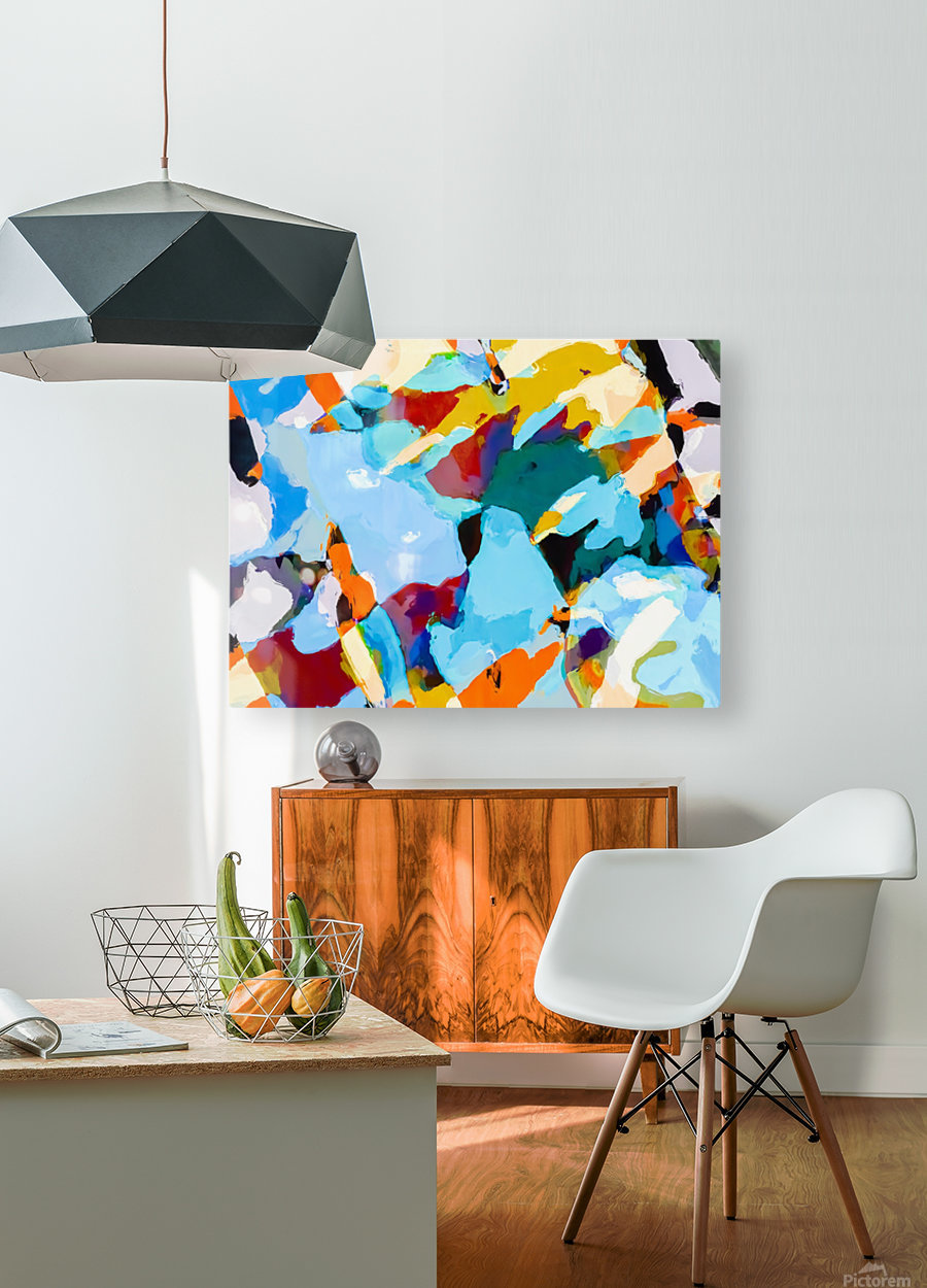 painting texture abstract in blue orange green yellow  HD Metal print with Floating Frame on Back