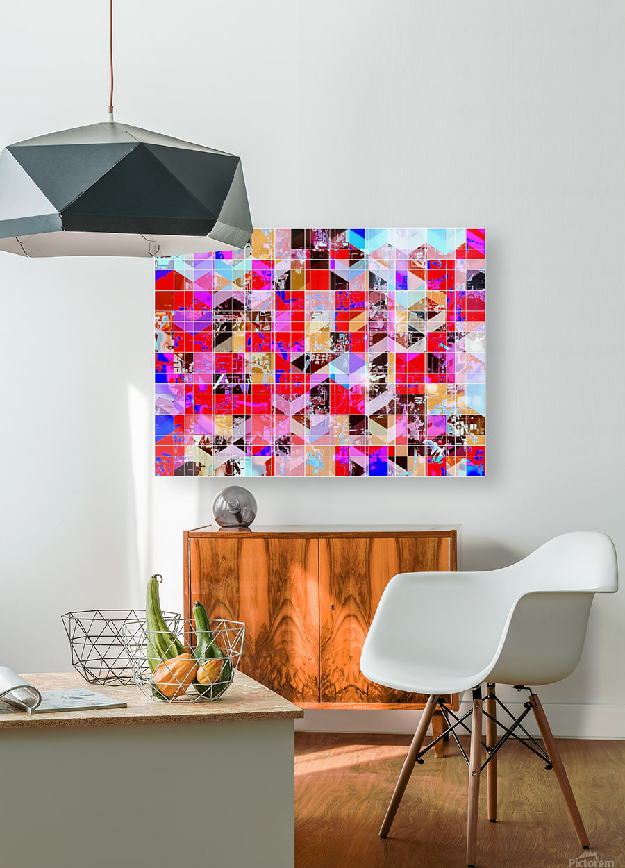 geometric square and triangle pattern abstract in red pink blue  HD Metal print with Floating Frame on Back