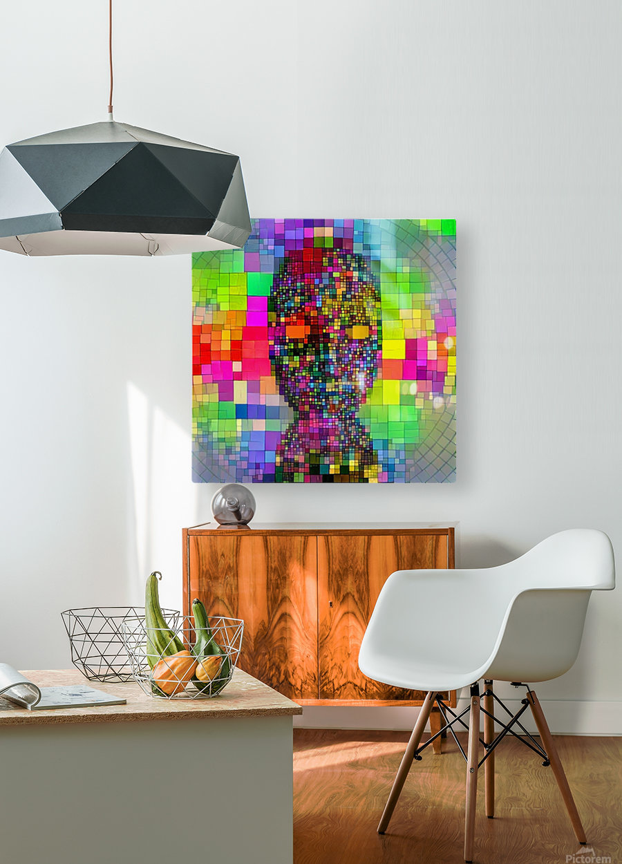 Mysterious Colorful Mask  HD Metal print with Floating Frame on Back