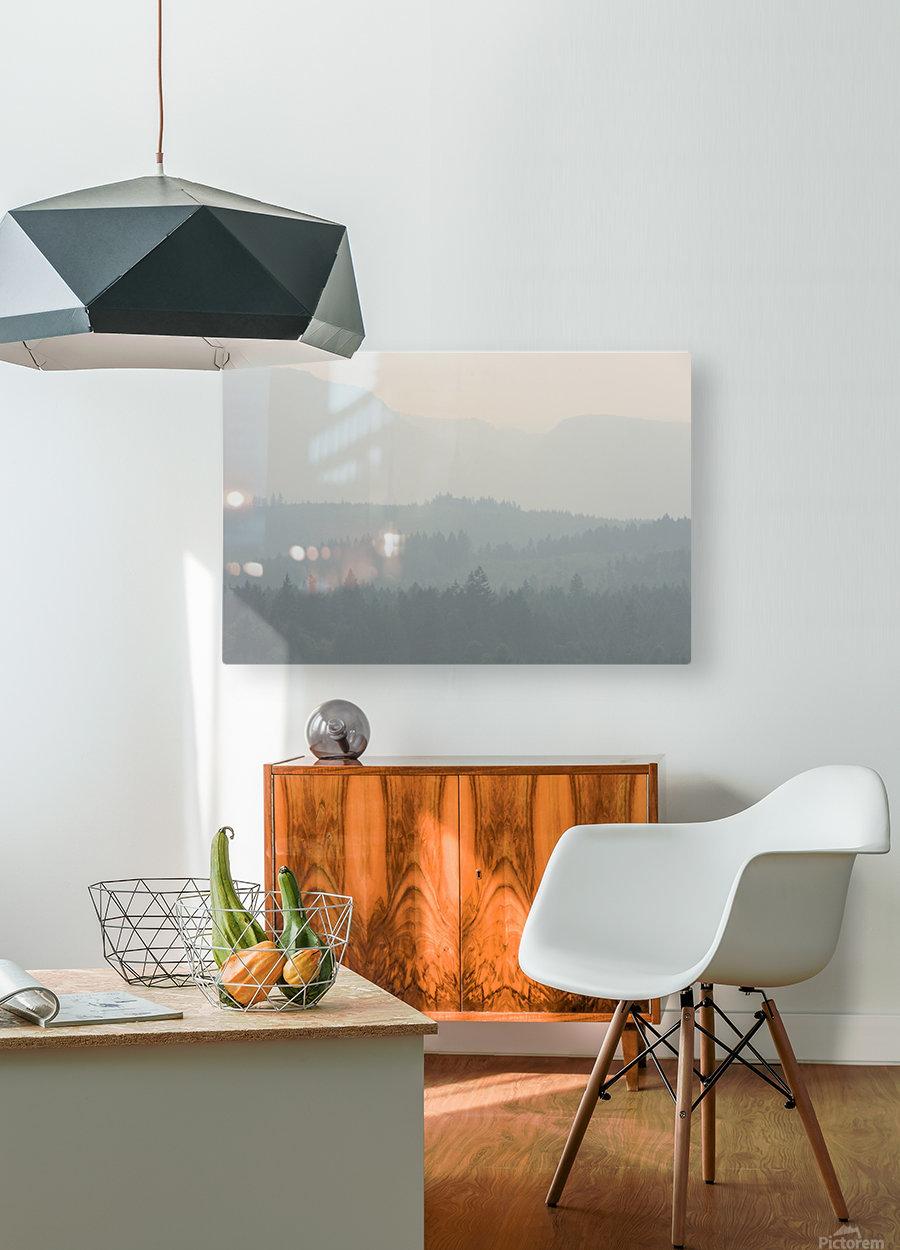 Hills of haze  HD Metal print with Floating Frame on Back