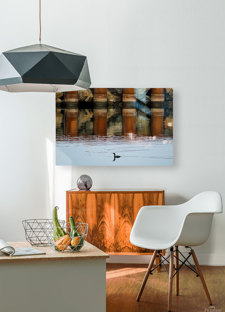 The breakwater  HD Metal print with Floating Frame on Back