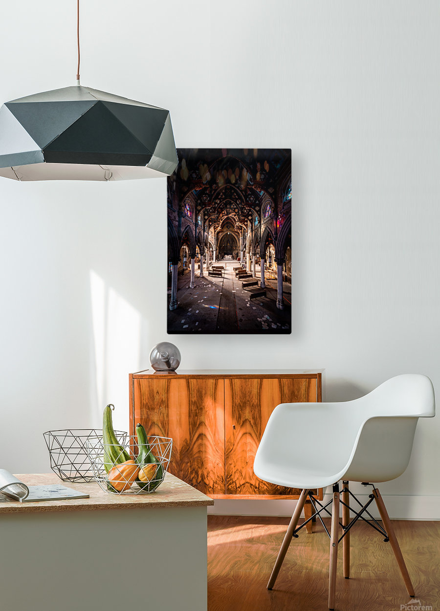 Abandoned Gothic Cathedral  HD Metal print with Floating Frame on Back
