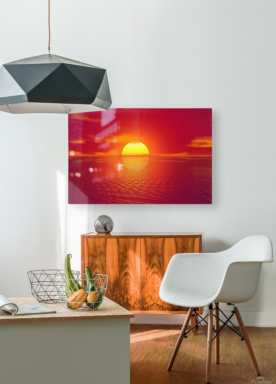 Beautiful Nature Landscape sunrise sunset sun Photography landscape photo Scenery  HD Metal print with Floating Frame on Back