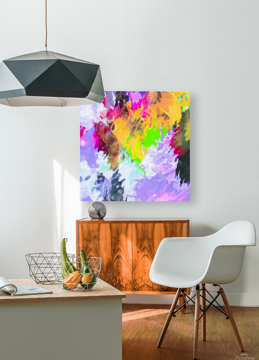 painting texture abstract background in purple yellow green pink  HD Metal print with Floating Frame on Back