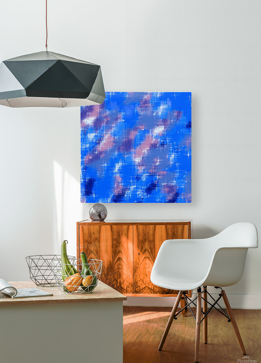 painting texture abstract background in blue pink  HD Metal print with Floating Frame on Back