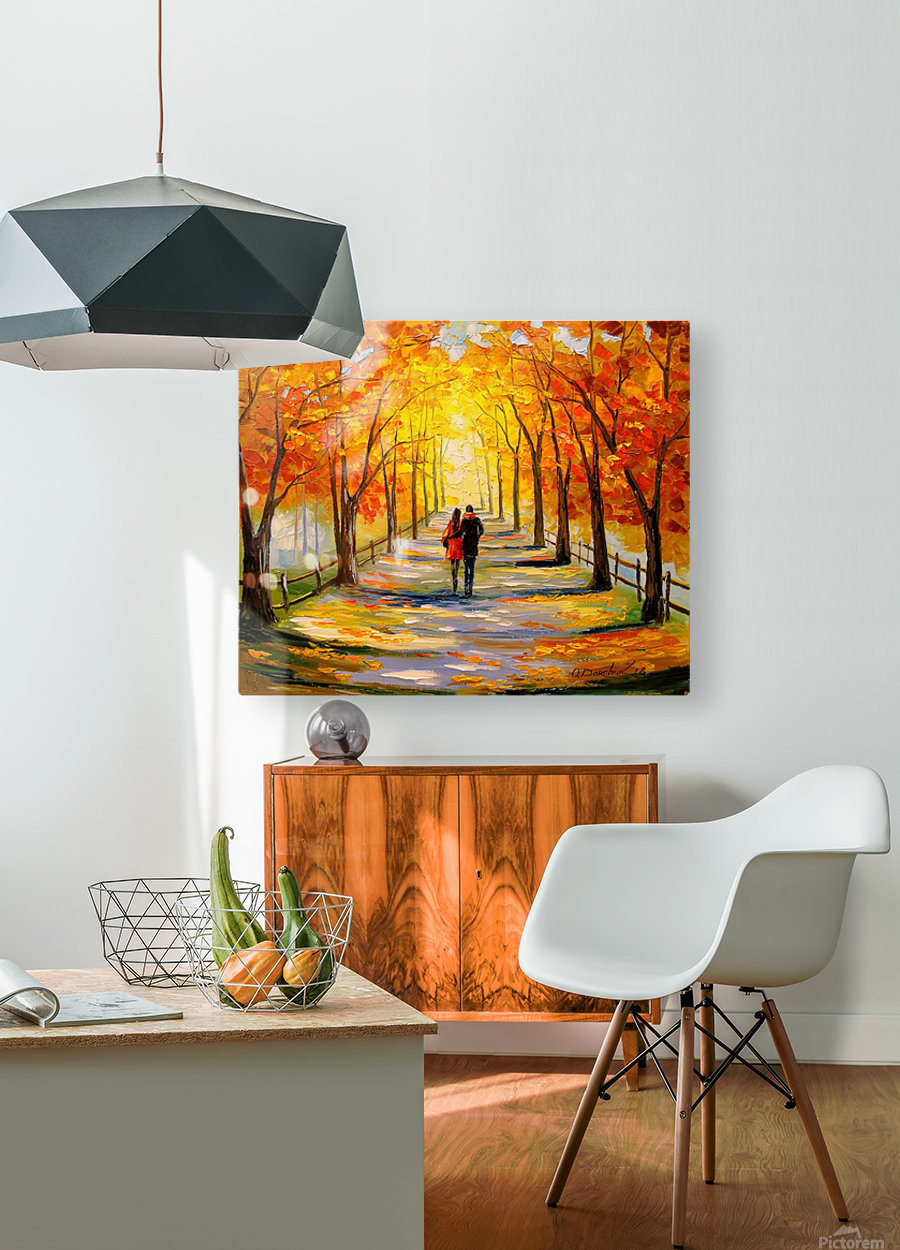 A walk in sunny weather  HD Metal print with Floating Frame on Back