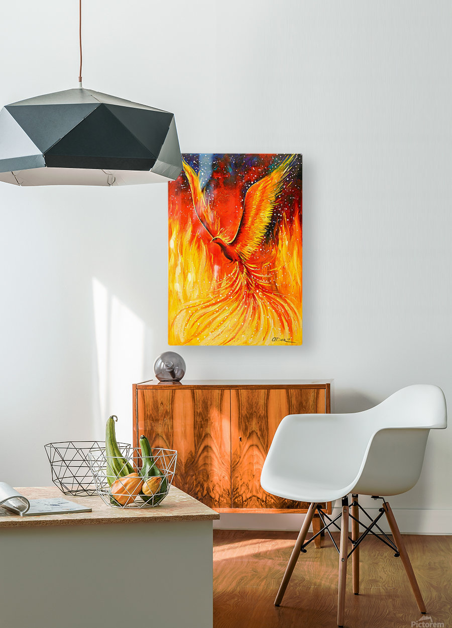 Phoenix bird  HD Metal print with Floating Frame on Back