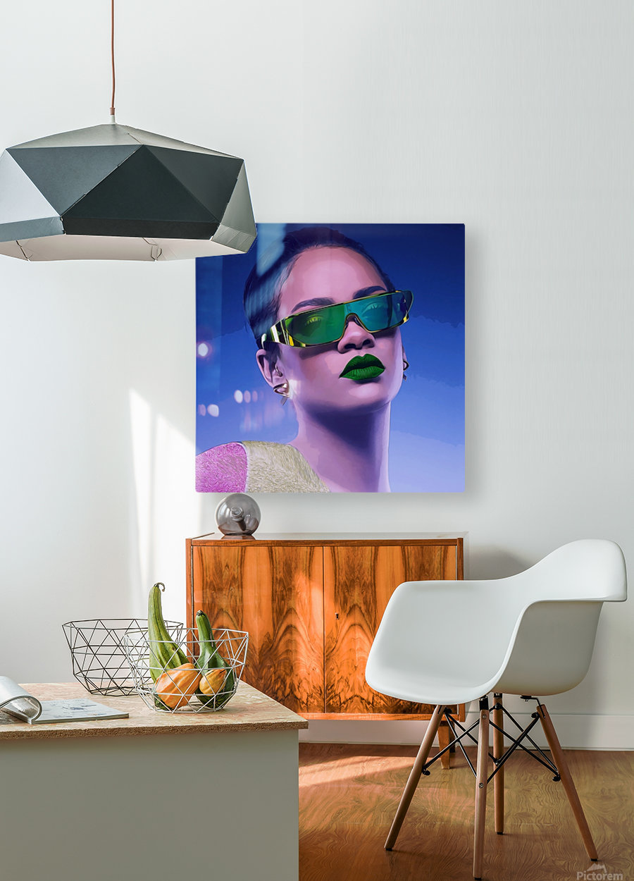 Rihanna  HD Metal print with Floating Frame on Back