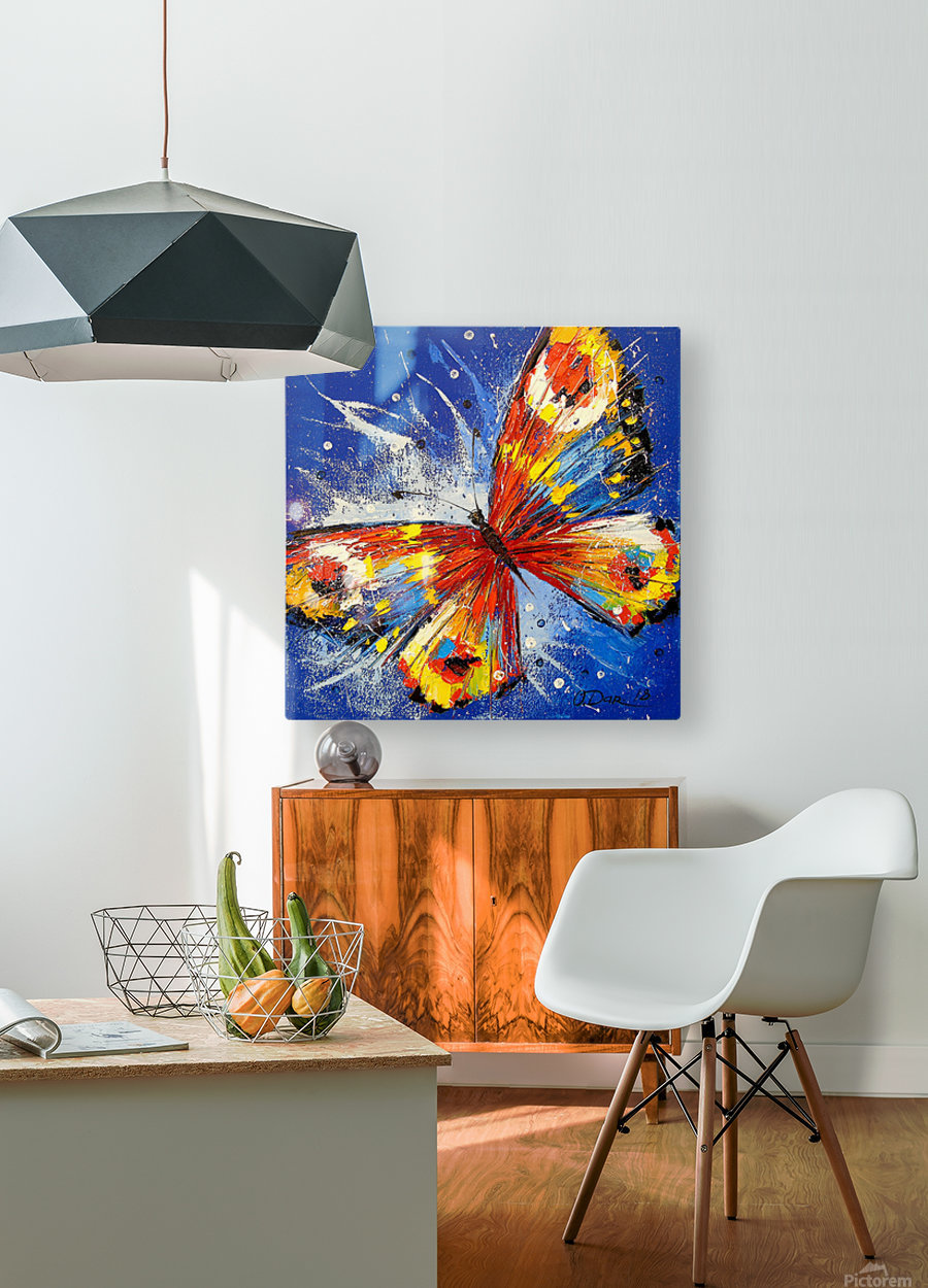 The butterfly  HD Metal print with Floating Frame on Back