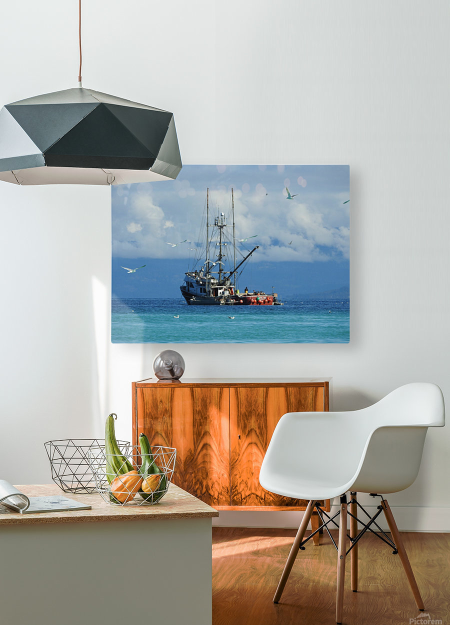 Aqua  HD Metal print with Floating Frame on Back